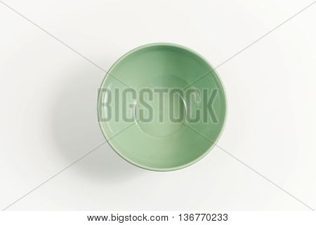 top view empty green olive bowl isolate on white background