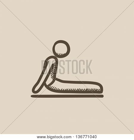 Man practicing yoga upward dog pose vector sketch icon isolated on background. Hand drawn man in yoga upward dog pose icon. Man in yoga upward dog pose sketch icon for infographic, website or app.