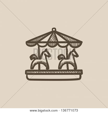 Merry-go-round vector sketch icon isolated on background. Hand drawn Merry-go-round icon. Merry-go-round sketch icon for infographic, website or app.