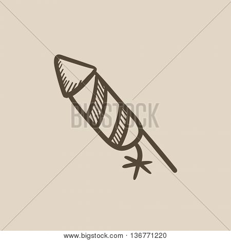 Firework vector sketch icon isolated on background. Hand drawn Firework icon. Firework sketch icon for infographic, website or app.