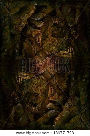 background pattern with dwarves, animals and forest elemental motives, drawing.