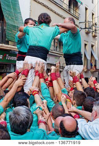 Castells Performance   In Torredembarra, Catalonia, Spain