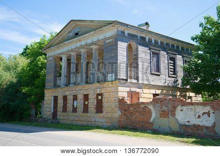NOVGOROD REGION, RUSSIA - JUNE 02, 2016: Abandoned palace of Emperor Alexander I in the village of Korosten. Historical landmark of the Novgorod region