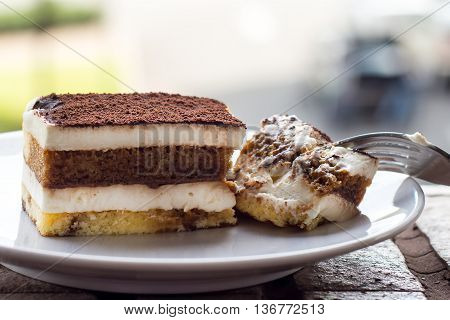 Tiramisu Cake. Tiramisu - Classical dessert with mascarpone and coffee