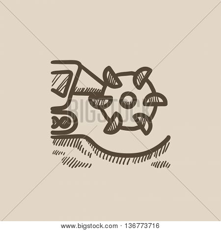 Coal machine with rotating cutting drum vector sketch icon isolated on background. Hand drawn Coal machine with rotating cutting drum icon. Coal machine sketch icon for infographic, website or app.