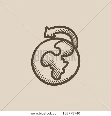 World wide cargo transportation vector sketch icon isolated on background. Hand drawn World wide cargo transportation icon. World wide cargo transportation sketch icon for infographic, website or app.