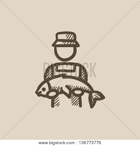Fisherman with big fish vector sketch icon isolated on background. Hand drawn Fisherman with big fish icon. Fisherman with big fish sketch icon for infographic, website or app.