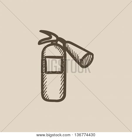 Fire extinguisher vector sketch icon isolated on background. Hand drawn Fire extinguisher icon. Fire extinguisher sketch icon for infographic, website or app.