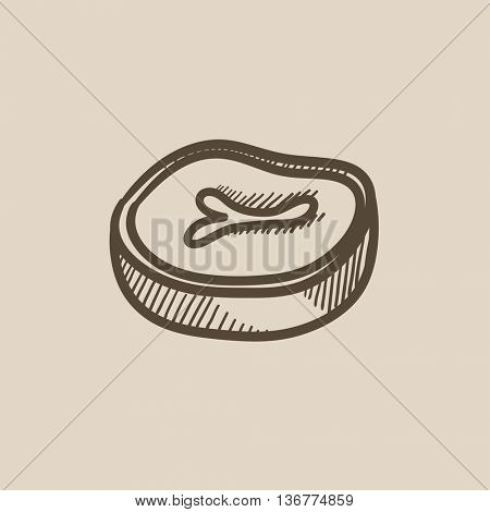Steak vector sketch icon isolated on background. Hand drawn Steak icon. Steak sketch icon for infographic, website or app.