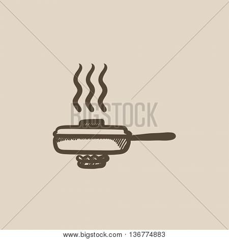 Frying pan with cover vector sketch icon isolated on background. Hand drawn Frying pan with cover icon. Frying pan with cover sketch icon for infographic, website or app.