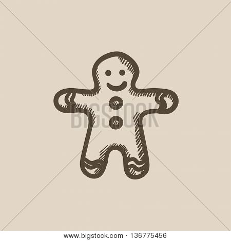 Gingerbread man vector sketch icon isolated on background. Hand drawn Gingerbread man icon. Gingerbread man sketch icon for infographic, website or app.