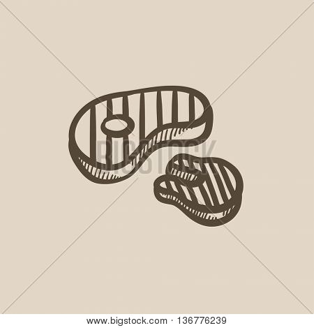 Grilled steak vector sketch icon isolated on background. Hand drawn Grilled steak icon. Grilled steak sketch icon for infographic, website or app.