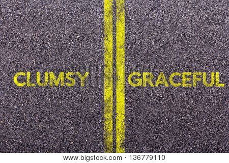 Tarmac With The Words Clumsy And Graceful