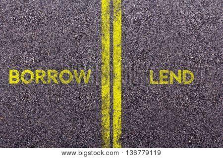 Tarmac With The Words Borrow And Lend