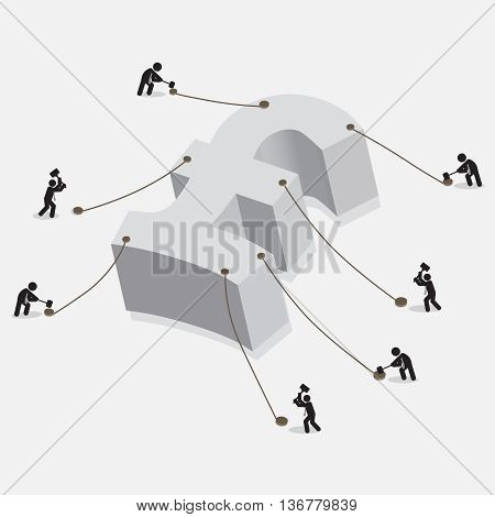 People Pegging On British Pound Currency Sign The British Currency Freeze Concept Vector Illustration. EPS 10