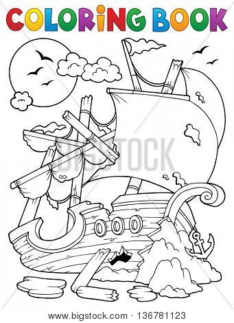 Coloring book shipwreck with rocks - eps10 vector illustration.