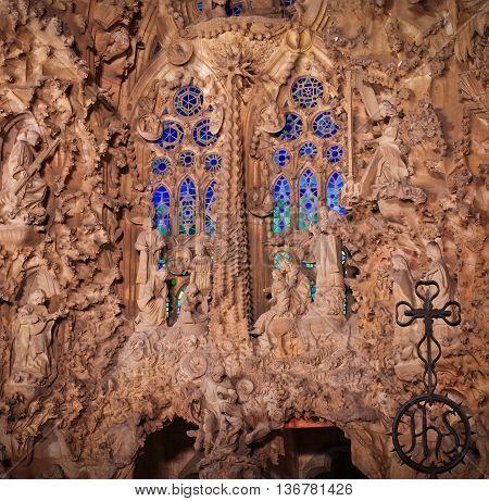 Detail Of Sagrada Familia At Night