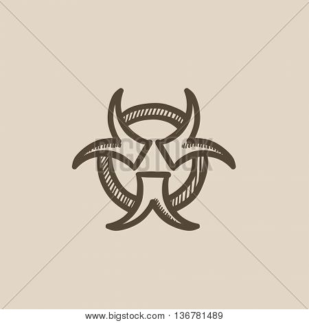 Bio hazard sign vector sketch icon isolated on background. Hand drawn Bio hazard sign icon. Bio hazard sign sketch icon for infographic, website or app.