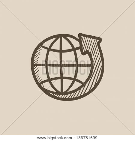 Earth and arrow around vector sketch icon isolated on background. Hand drawn Earth and arrow around icon. Earth and arrow around sketch icon for infographic, website or app.