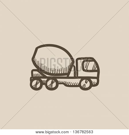 Concrete mixer truck vector sketch icon isolated on background. Hand drawn Concrete mixer truck icon. Concrete mixer truck sketch icon for infographic, website or app.