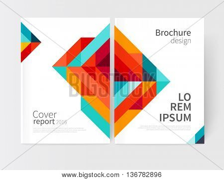 Minimalistic Brochure design. Flyer, booklet, annual report cover template. modern Geometric Abstract background. Blue,yellow and red diagonal lines & triangles. vector-stock illustration