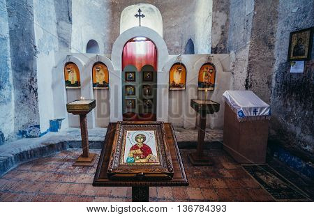 Uplistsikhe Georgia - July 21 2015. iconostasis in Christian Basilica in ancient rock-hewn town called Uplistsikhe in Georgia