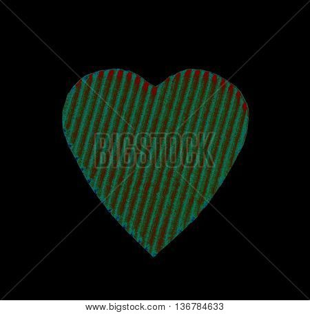 abstract green heart of the goffered cardboard isolated on a black background. the concept of love Valentine's day