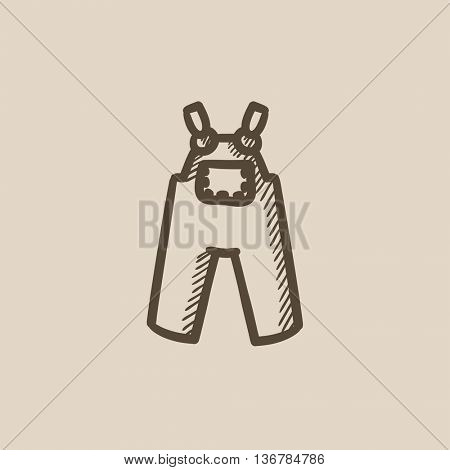 Baby overalls vector sketch icon isolated on background. Hand drawn Baby overalls icon. Baby overalls sketch icon for infographic, website or app.