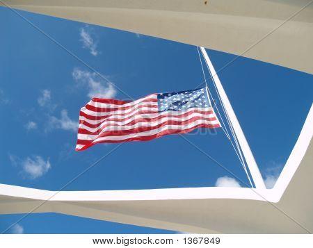 Flag Over The Arizona Memorial