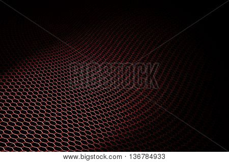 Red Curve Metallic Mesh On Black Background.