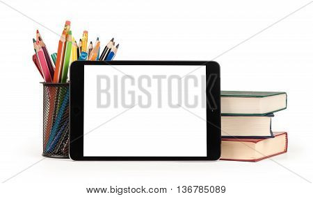 Back To School Concept. Digital Tablet, Pencils And Books