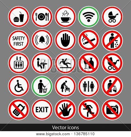 Vector public black icons set.  Stock illustration