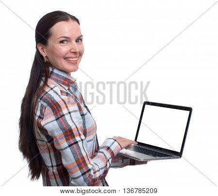 Young Brunette Woman Working On Laptop. Isolated