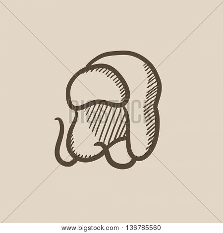Warm fur cap vector sketch icon isolated on background. Hand drawn Warm fur cap icon. Warm fur cap sketch icon for infographic, website or app.