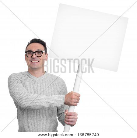 Handsome Smiling Man Holding Blank Placard