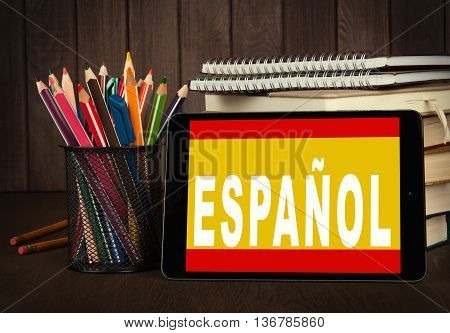 Learn Spanish Online. Education Concept