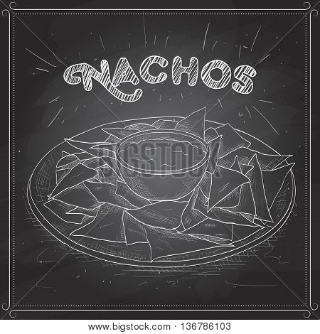 Nachos scetch on a black board. Tortilla Chips. Detailed Vector Icon. Series of food and drink and ingredients for cooking.