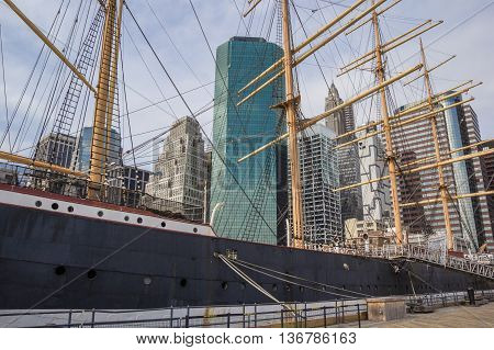 Old ship at the South Street Seaport in New York City USA