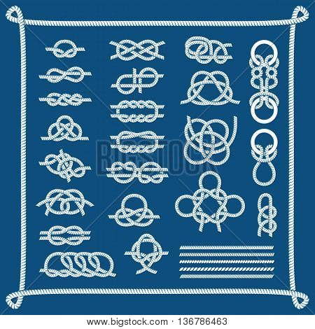 Rope knots collection decorative elements vector illustration. Strong line twisted rope knots cable element sailor. Graphic noose symbol rope knots different types of eight loop thread.