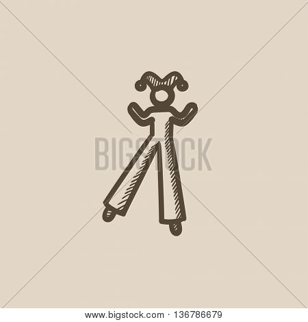 Clown on stilts vector sketch icon isolated on background. Hand drawn Clown on stilts icon. Clown on stilts sketch icon for infographic, website or app.