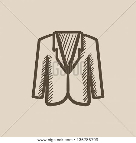 Male jacket vector sketch icon isolated on background. Hand drawn Male jacket icon. Male jacket sketch icon for infographic, website or app.