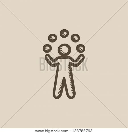Man juggling with balls vector sketch icon isolated on background. Hand drawn Man juggling with balls icon. Man juggling with balls sketch icon for infographic, website or app.