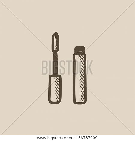 Mascara vector sketch icon isolated on background. Hand drawn Mascara icon. Mascara sketch icon for infographic, website or app.