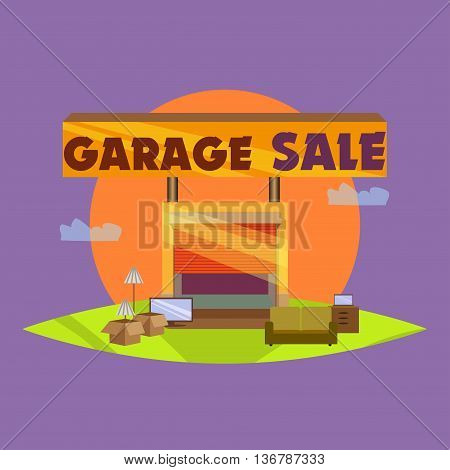Garage or Yard Sale with signs, box and household items. Vintage printable poster or banner template