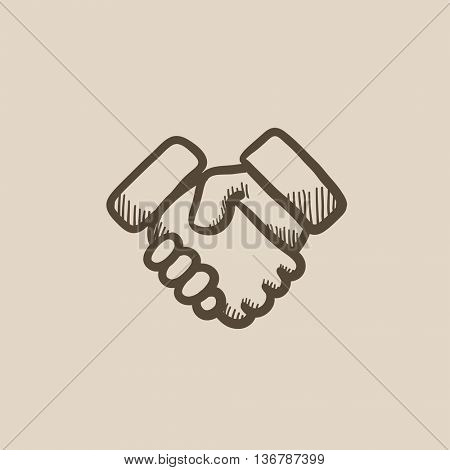 Handshake  vector sketch icon isolated on background. Hand drawn Handshake  icon. Handshake  sketch icon for infographic, website or app.