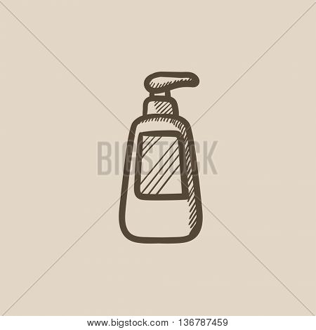 Bottle with dispenser pump vector sketch icon isolated on background. Hand drawn Bottle with dispenser pump icon. Bottle with dispenser pump sketch icon for infographic, website or app.