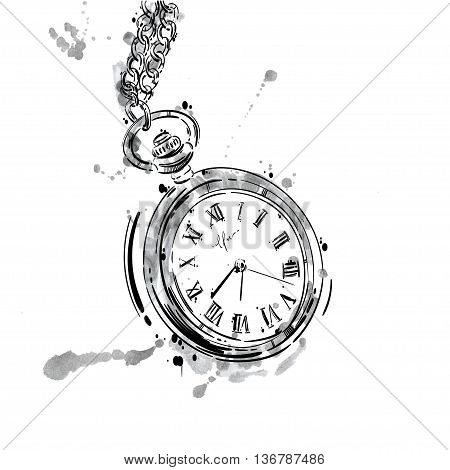 Vector abstract illustration of a pocket watch on a chain. Business style. Men's fashion. Business. Isolate on white background.