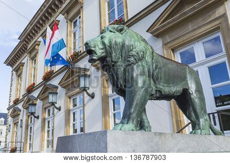 Luxembourg City - Luxembourg - July 01, 2016: Statue Of Lion.