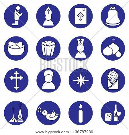 Jesus Christ religion icons set. Christianity pictogramms in circle shape