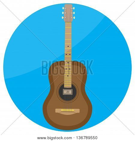 Flat icon acoustic guitar vector. Acoustic guitar isolated classical guitar illustration